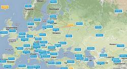 Карта низьких цін на авіаквитки